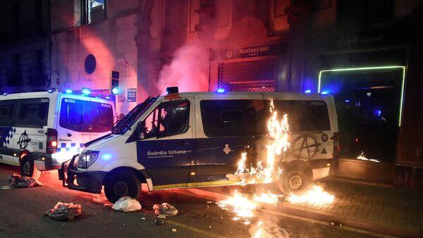 Беспорядки во время протестов в Барселоне
