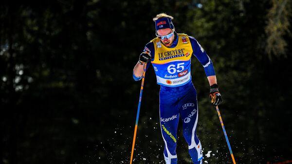 Йони Мяки (Финляндия) на дистанции индивидуальной гонки на 15 км классическим стилем с раздельным стартом в соревнованиях по лыжным гонкам среди мужчин на чемпионате мира-2019 по лыжным видам спорта в австрийском Зеефельде.
