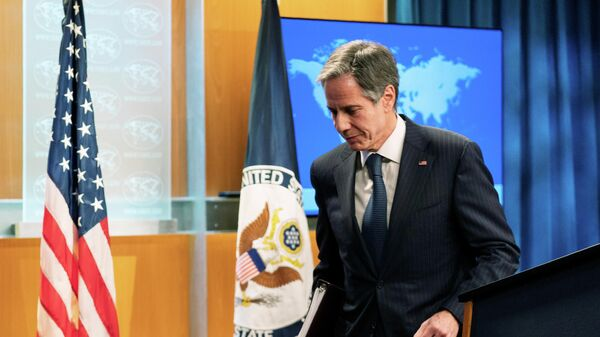 Глава Госдепартамента Энтони Блинкен во время пресс-конференции