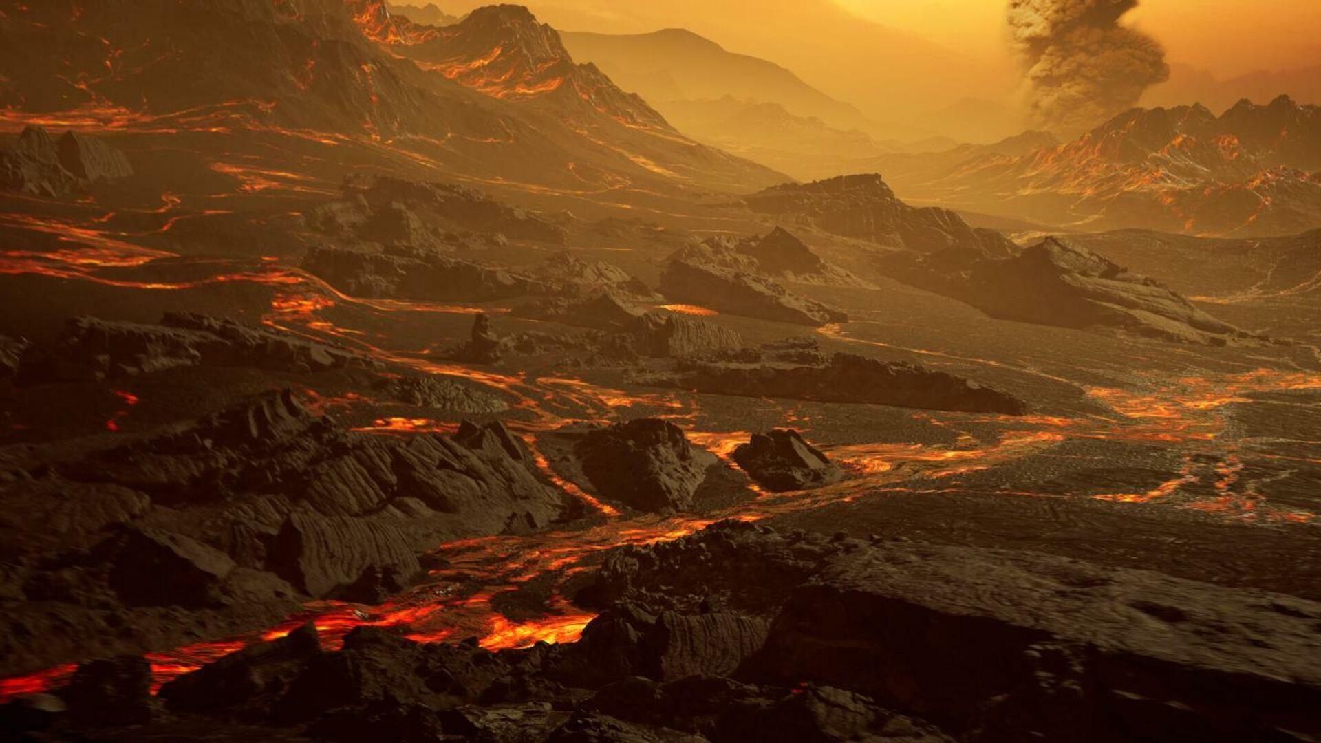 Художественное представление о поверхности экзопланеты Gliese 486b, где при температуре около 430 градусов Цельсия текут реки лавы - РИА Новости, 1920, 05.03.2021
