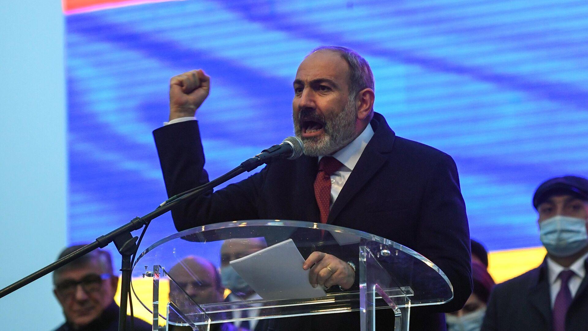 Премьер-министр Армении Никол Пашинян выступает перед своими сторонниками в Ереване  - РИА Новости, 1920, 08.06.2021