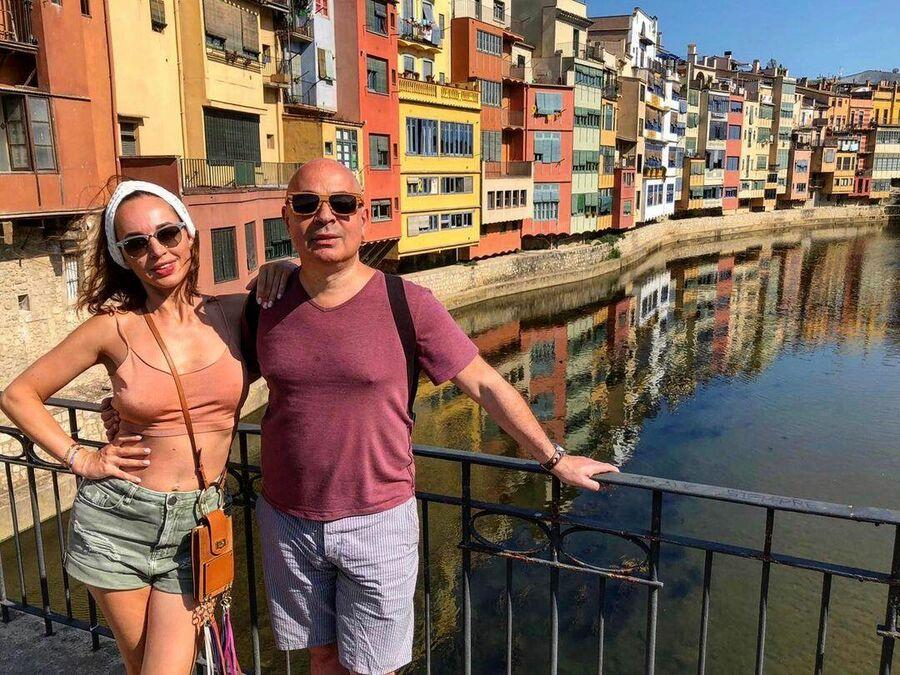 Михаил Грушевский с супругой в Жироне, Испания