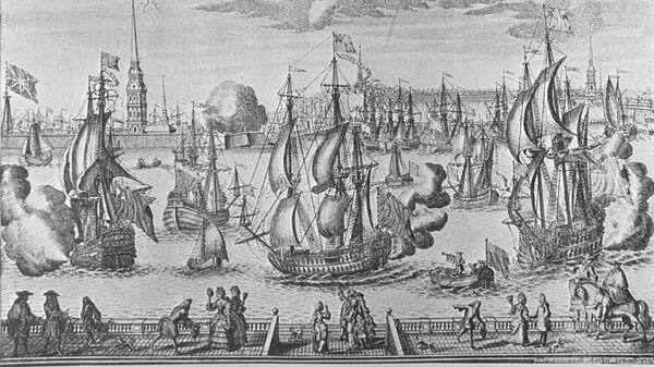Репродукция гравюры Санкт-Петербург или Деревянная набережная художник Алексей Зубов, известный русский гравер, 1727 год