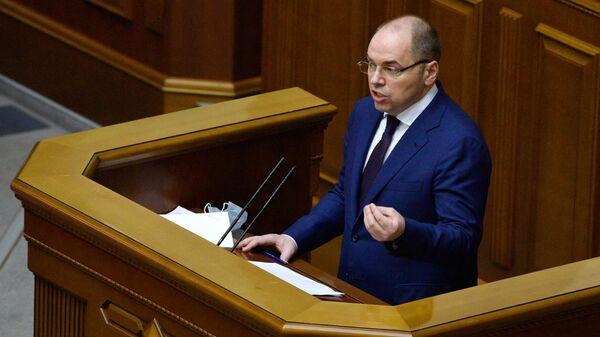 Министр здравоохранения Украины Максим Степанов выступает на внеочередном заседании Верховной рады Украины в Киеве.