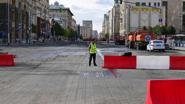 Работы по замене асфальта на Тверской улице