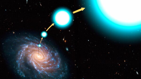 Сверхскоростная звезда покидает Галактику