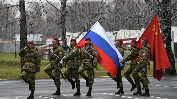 Церемония закрытия совместного российско-китайского антитеррористического учения Сотрудничество-2019 в учебном центре Горный в Новосибирской области