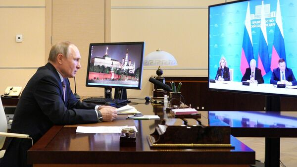 Президент РФ Владимир Путин в режиме видеоконференции принимает участие в церемонии подписания генерального соглашения между общероссийскими объединениями профсоюзов, работодателей и правительством
