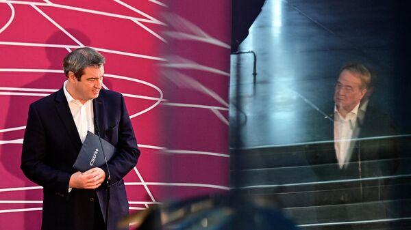Маркус Зедер и Армин Лашет после совместного заседания ХДС/ХСС в Берлине