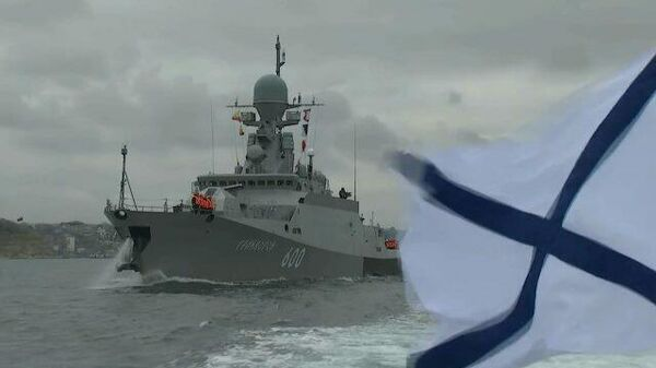Корабли Черноморского флота на артиллерийских стрельбах