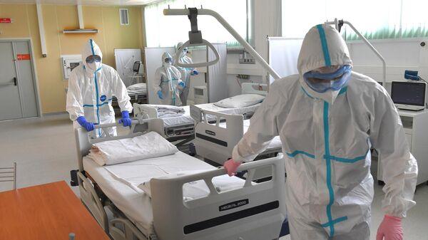 Медицинские работники в Московском клиническом центре инфекционных болезней Вороновское