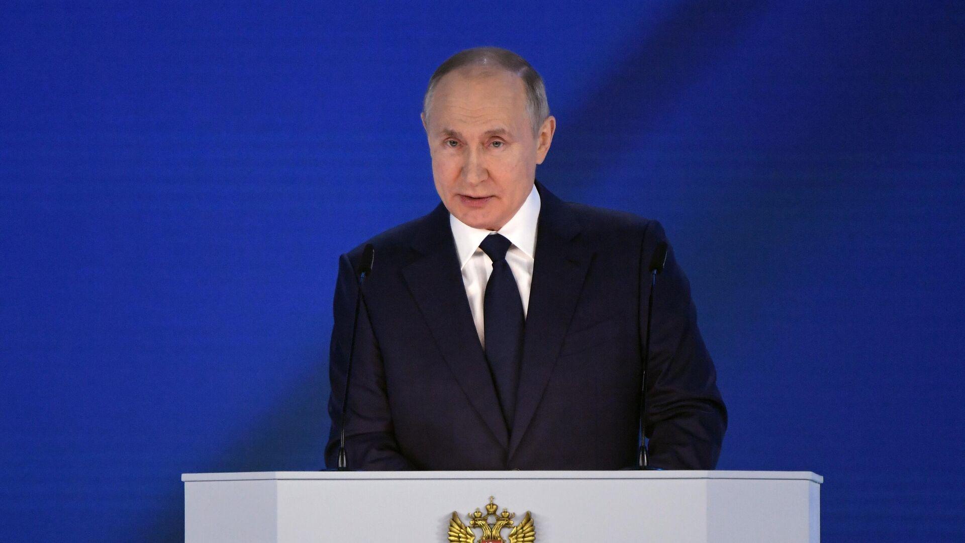 Президент РФ Владимир Путин выступает с ежегодным посланием Федеральному Собранию - РИА Новости, 1920, 03.05.2021