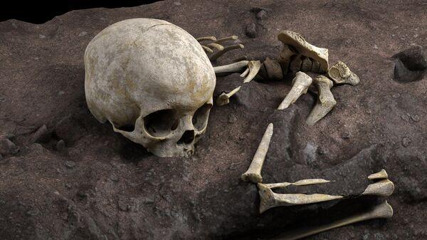 Виртуальная реконструкция расположения скелета ребенка в погребальной яме