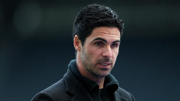Arsenal's Spanish manager Mikel Arteta speaks to the media after the English Premier League football match between Newcastle United and Arsenal at St James' Park in Newcastle-upon-Tyne, north east England on May 2, 2021. (Photo by LEE SMITH / POOL / AFP) / RESTRICTED TO EDITORIAL USE. No use with unauthorized audio, video, data, fixture lists, club/league logos or 'live' services. Online in-match use limited to 120 images. An additional 40 images may be used in extra time. No video emulation. Social media in-match use limited to 120 images. An additional 40 images may be used in extra time. No use in betting publications, games or single club/league/player publications. /
