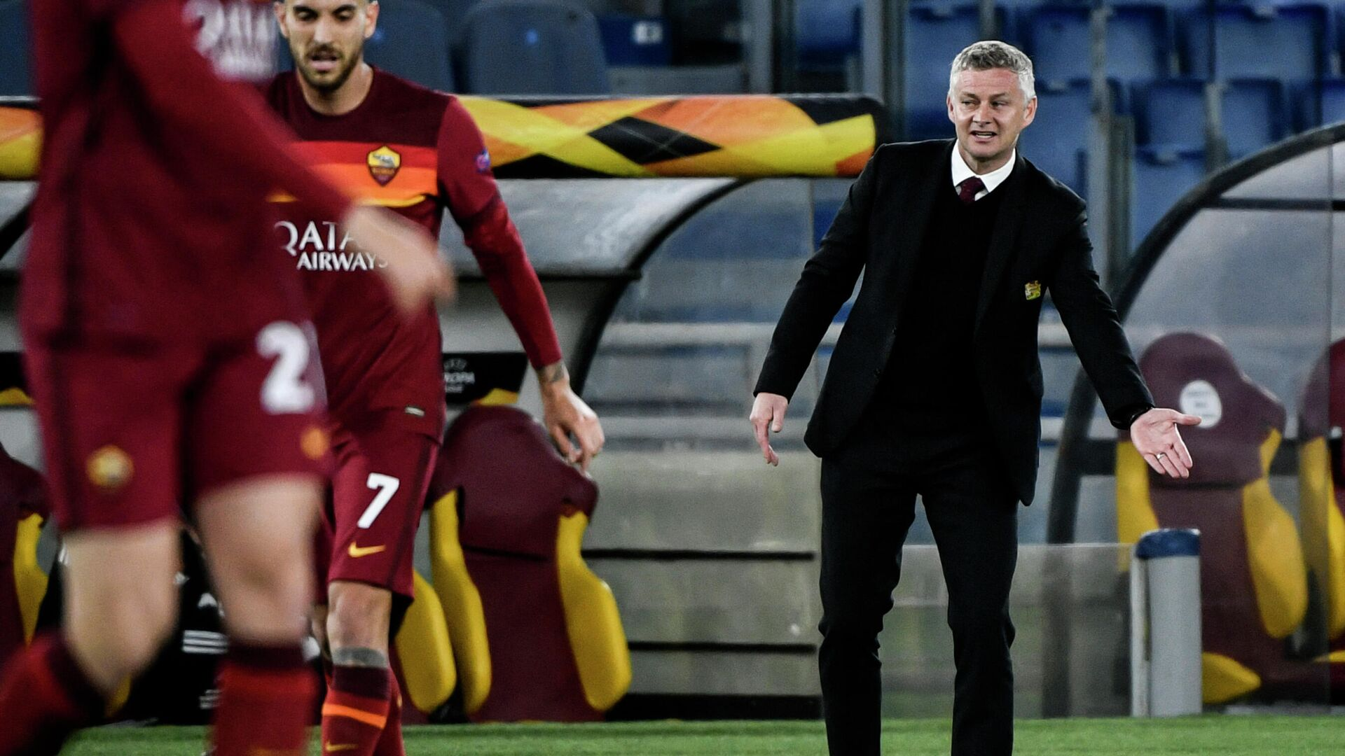 Manchester United's Norwegian coach Ole Gunnar Solskjaer reacts during the UEFA Europa League semi-final second leg football match between AS Roma and Manchester United at the Olympic Stadium in Rome, on May 6, 2021. (Photo by Filippo MONTEFORTE / AFP) - РИА Новости, 1920, 07.05.2021