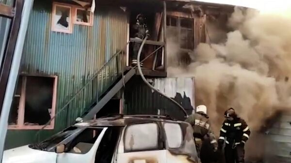 Пожар в сварочном цехе в Мытищах