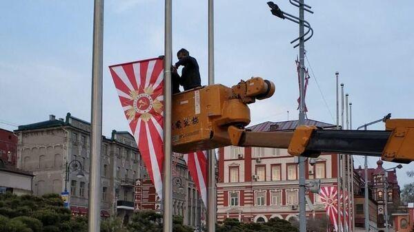 Флаги, установленные к 9 мая на улицах Владивостока