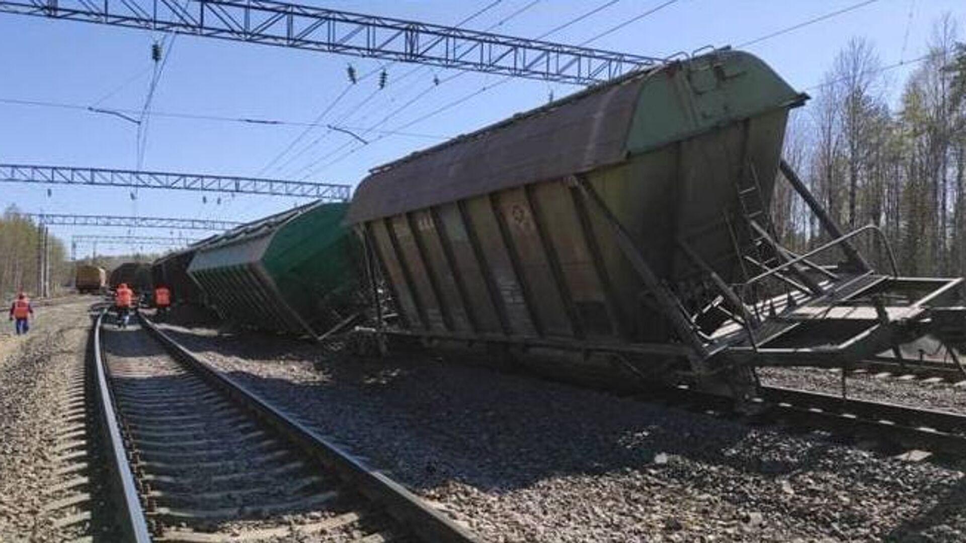 Сход с рельсов грузового поезда в Карелии - РИА Новости, 1920, 12.05.2021