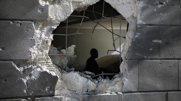 Место попадания ракеты, выпущенной из сектора Газа
