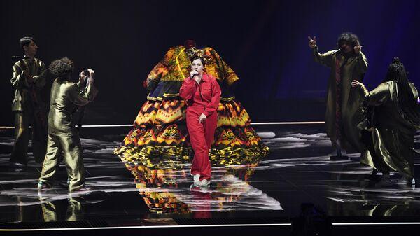 Певица Манижа выступает на репетиции первого полуфинала конкурса песни Евровидение-2021 в Роттердаме