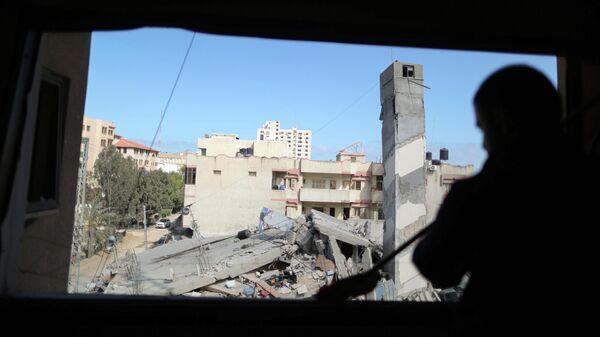 Здание в Газе, разрушенное в результате израильского авиаудара