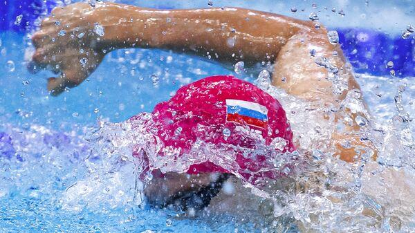 Климент Колесников (Россия) в финальном заплыве на 100 метров вольным стилем среди мужчин на чемпионате Европы по водным видам спорта в Будапеште.