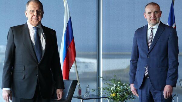 Министр иностранных дел РФ Сергей Лавров и президент Исландии Гвюдни Йоуханнессон во время встречи на полях Арктического совета в Рейкьявике