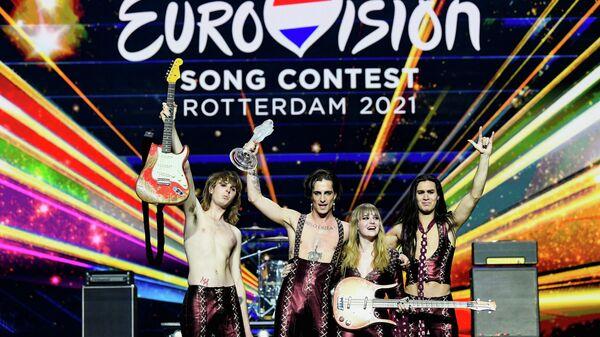 Итальянская группа Måneskin, победившая в конкурсе Евровидение-2021 в Роттердаме