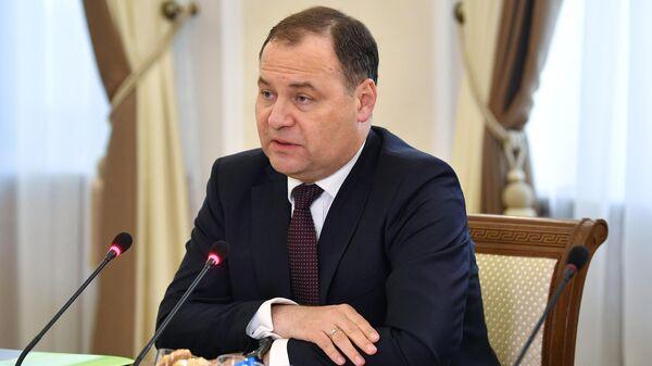 Премьер-министр Белоруссии Роман Головченко во время переговоров с председателем правительства РФ Михаилом Мишустиным