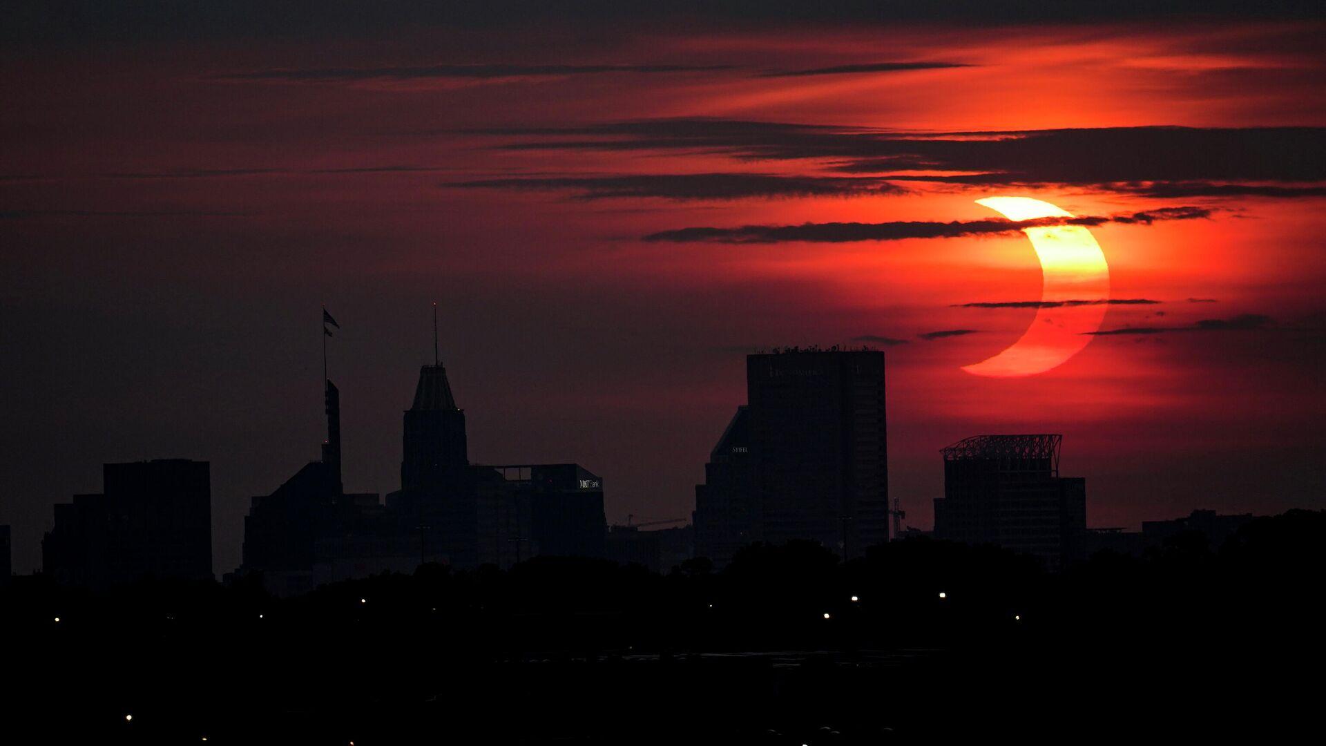 Частичное солнечное затмение в округе Балтимор, Мэриленд, США. 10 июня 2021 года - РИА Новости, 1920, 01.08.2021