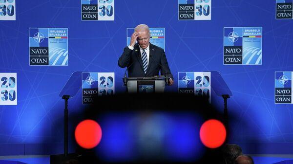 Президент США Джо Байден на пресс-конференции во время саммита НАТО в Брюсселе
