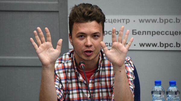 Роман Протасевич принимает участие в пресс-конференции в Минске