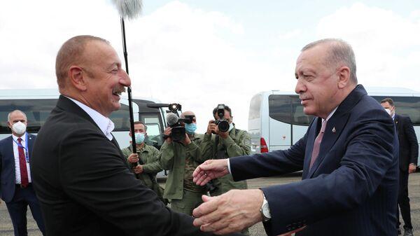 Встреча президента Азербайджана Ильхама Алиева и президента Турции Реджепа Эрдогана в карабахском Физули