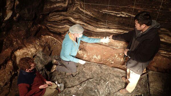 Авторы исследования отбирают образцы в Денисовой пещере