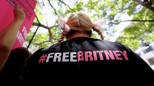 Участник акции в поддержку Бритни Спирс во время слушаний по делу об опекунстве в Лос-Анджелесе