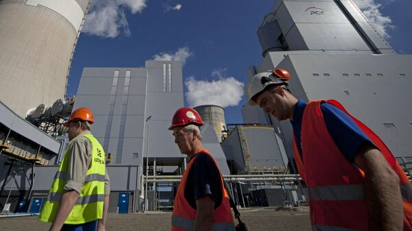 Вид на электростанцию в Польше