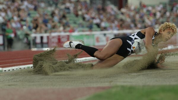 Malaika MIHAMBO from Germany competes in the long jump women final at the Diamond League track and field meeting in Oslo on July 1, 2021. (Photo by STR / Diamond League AG)
