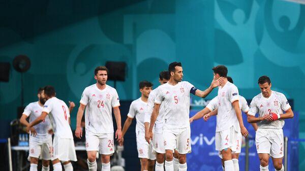 Игроки сборной Испании в матче 1/4 финала чемпионата Европы по футболу 2020 между сборными Швейцарии и Испании.