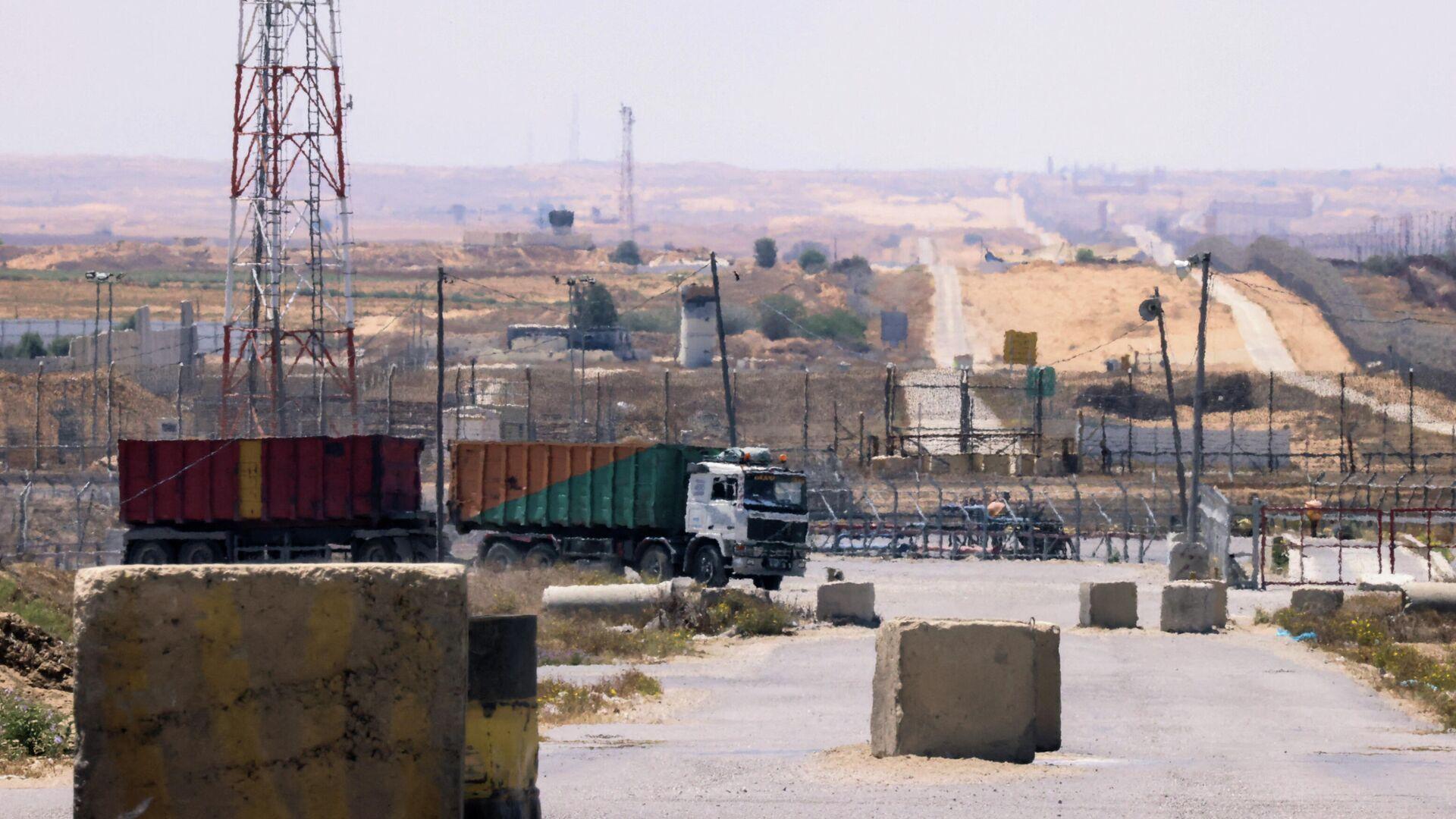 Контрольно-пропускной пункт Керем-Шалом в Рафахе на юге сектора Газа - РИА Новости, 1920, 13.07.2021