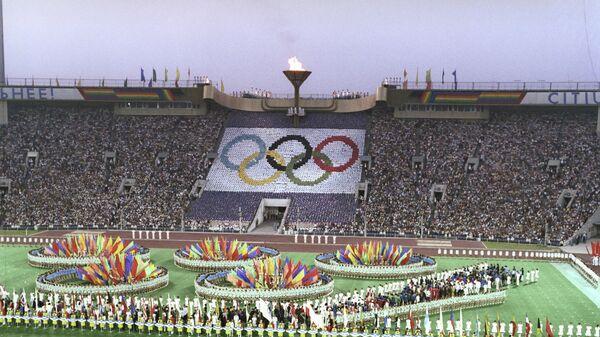 Торжественная церемония закрытия Игр XXII Олимпиады. Центральный стадион имени В.И. Ленина 3 августа 1980 года.