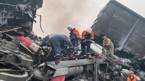 На месте столкновения грузовых поездов в Амурской области