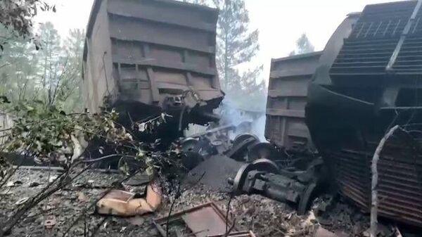 Последствия лобового столкновения грузовых поездов в Амурской области