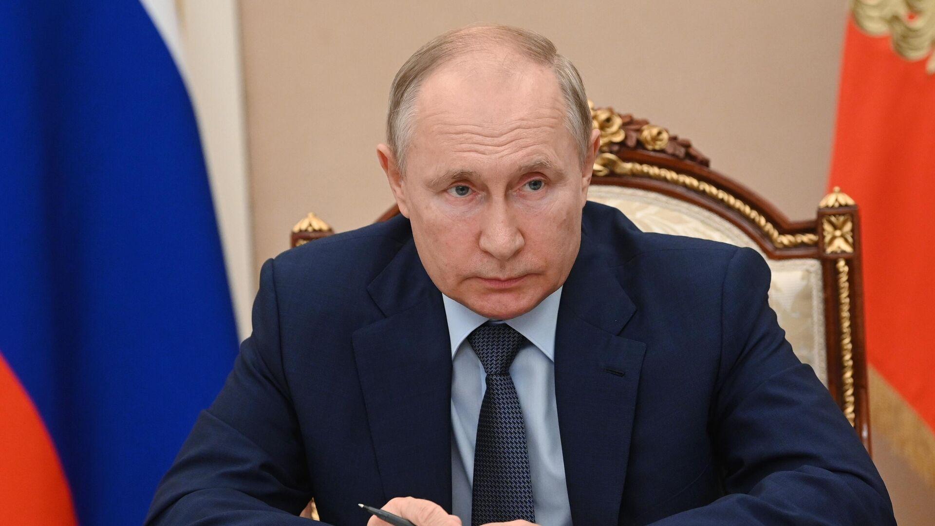 Президент РФ Владимир Путин в режиме видеоконференции проводит заседание Совета по стратегическому развитию и национальным проектам - РИА Новости, 1920, 21.07.2021