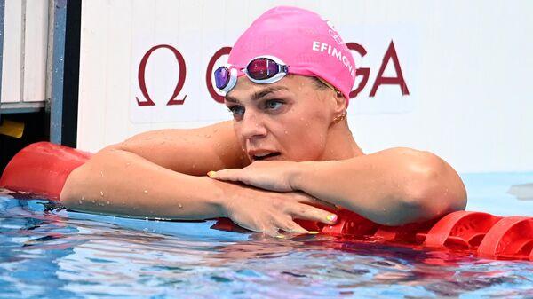 Российская спортсменка, член сборной России (команда ОКР) по плаванию Юлия Ефимова после полуфинального заплыва на 100 метров брассом среди женщин на XXXII Олимпийских  играх.