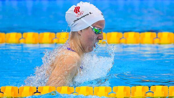 Российская спортсменка, член сборной России (команда ОКР) Евгения Чикунова в полуфинальном заплыве на 200 метров брассом среди женщин на XXXII летних Олимпийских играх в Токио.