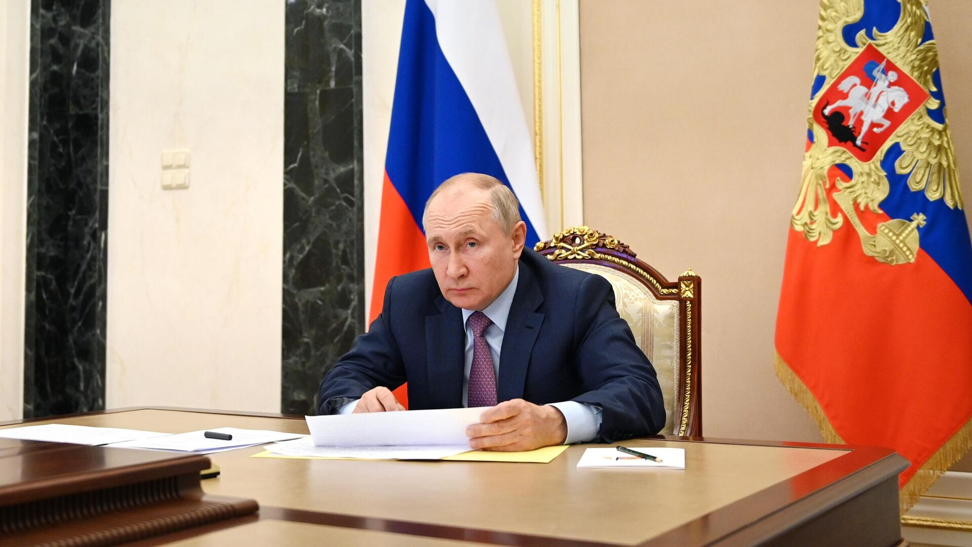 Президент РФ Владимир Путин проводит в режиме видеоконференции совещание с членами правительства РФ - РИА Новости, 1920, 05.08.2021