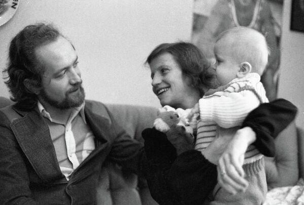 Ольга Корбут с сыном Ричардом и мужем Леонидом Борткевичем