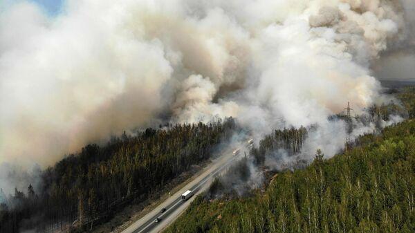 Лесной пожар у федеральной трассы Екатеринбург - Пермь
