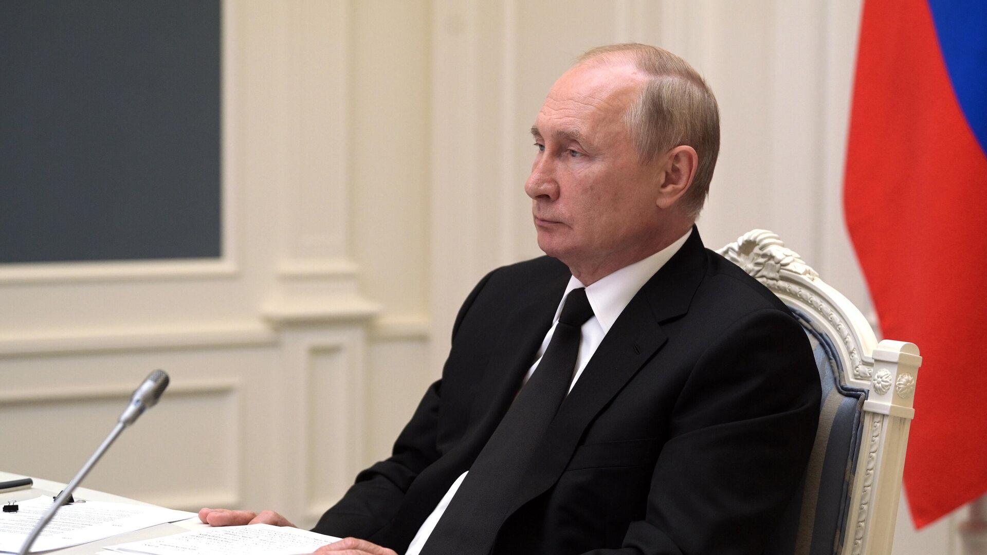 Президент РФ Владимир Путин принимает участие в XIII саммите БРИКС в режиме видеоконференции - РИА Новости, 1920, 14.09.2021