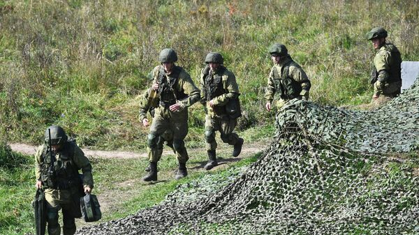 Военнослужащие на совместных стратегических учениях вооруженных сил России и Белоруссии Запад -2021 на полигоне Правдинский в Калининградской области